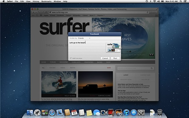 Share to Facebook from Mac OS X