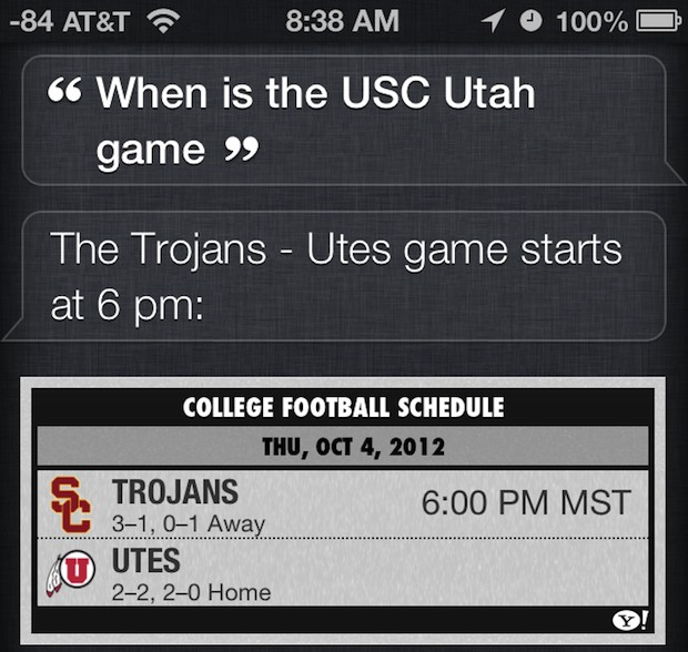 View sports times, scores and more with Siri