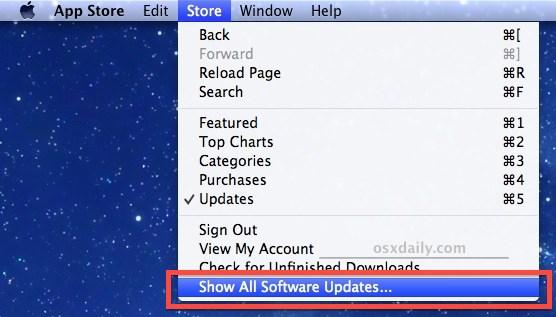 Show hidden software updates in the Mac App Store