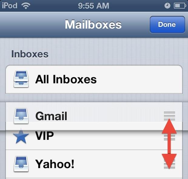 Rearrange email inboxes in iOS