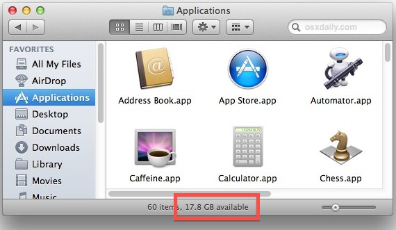 Check the available disk space on a Mac