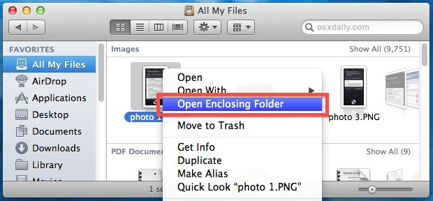 Open a file's enclosing folder immediately from All My Files in OS X