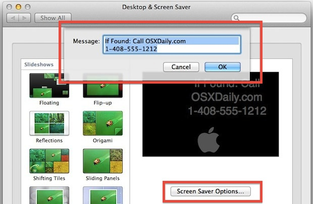 Customize the screen saver message in Mac OS X