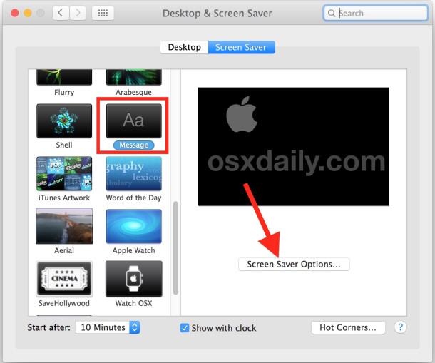 Custom screen saver message in Mac OS X