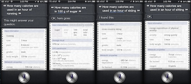 Get calorie consumption information about activity from Siri