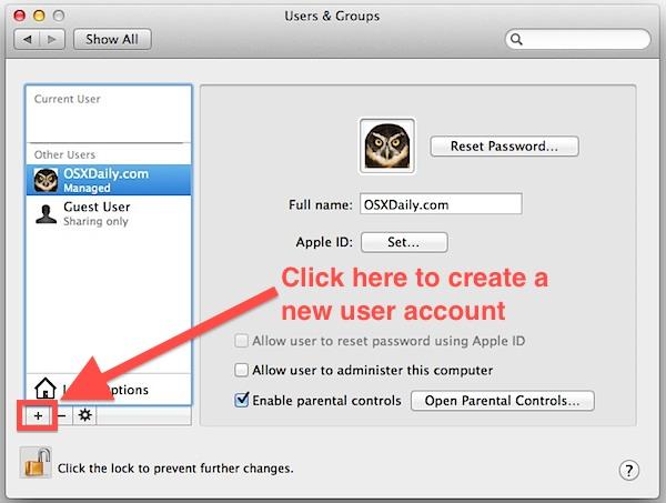 Create a new user account in Mac OS X