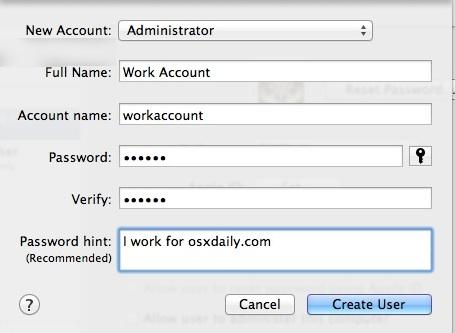 Create the new user account on Mac OS X