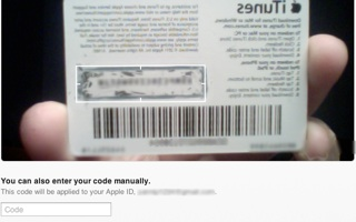 Redeem an older iTunes gift card with the camera