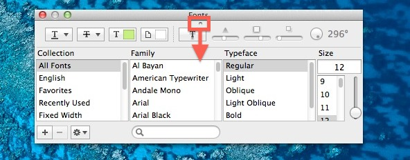 Reveal font samples in OS X