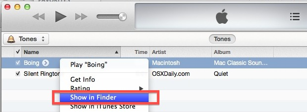Display the location of the ringtone quickly with iTunes