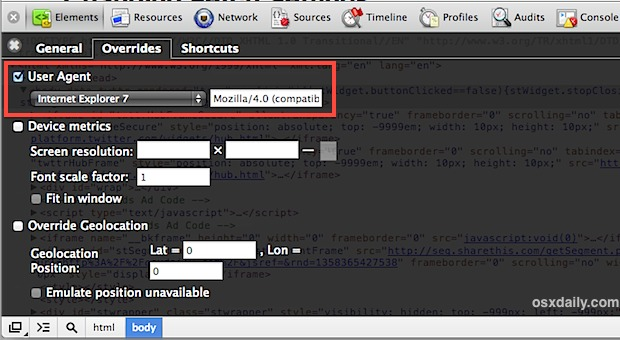 Change the User Agent in Chrome