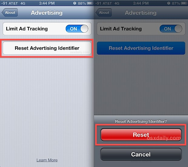 Reset the ad's tracking ID in iOS