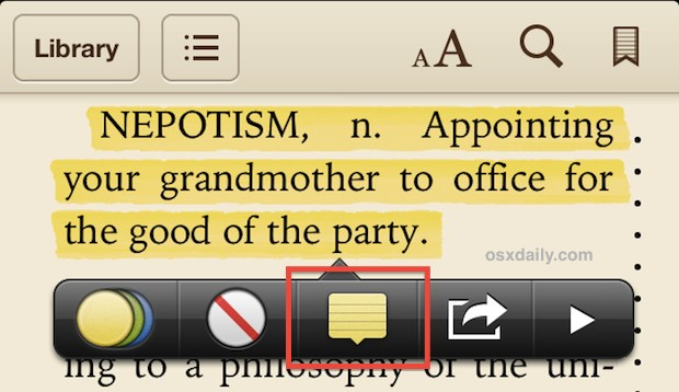 Make notes in iBooks