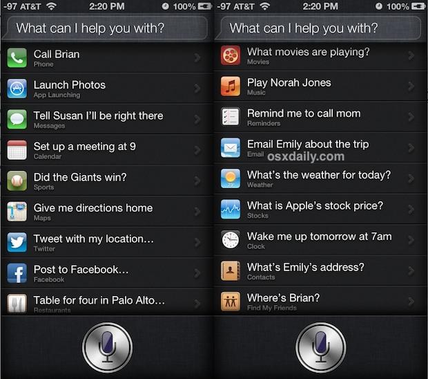Siri command list