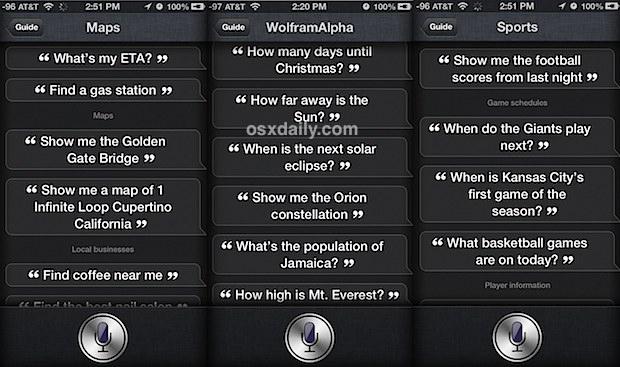 Siri list commands