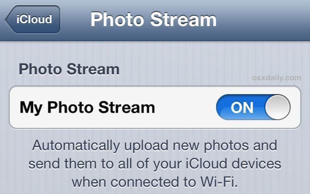 Turn on Photo Stream on iPhone