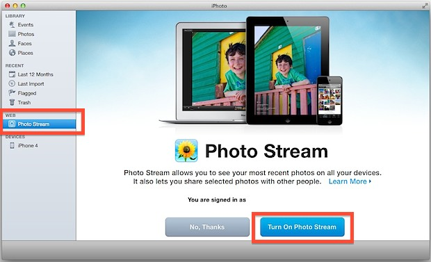 Turn on Photo Stream support in iPhoto for Mac OS X
