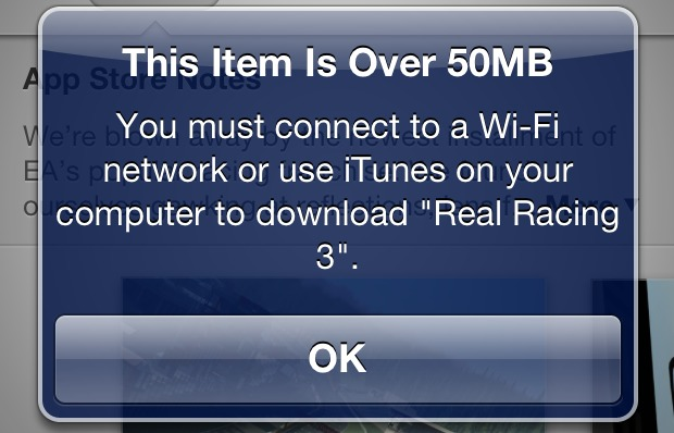 Download limit of 50 MB on iPhone