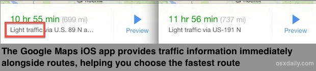 Google Maps traffic information shown in route
