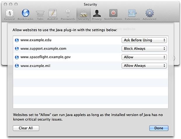 Safari Java options