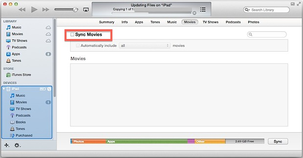 Turn off Movie sync