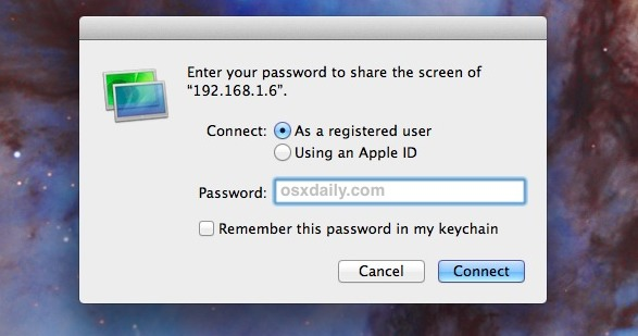Connect to a remote VNC server in Mac OS X with the Screen Sharing app