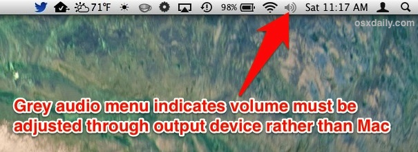 The gray volume menu icon on the Mac indicates that the audio volume needs to be changed through the device instead of OS X