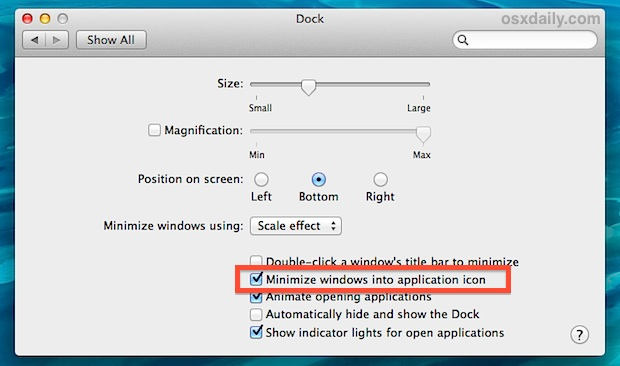 Minimize windows in the application icon in the Dock of OS X