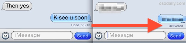 Read receipts ON in iMessage and OFF