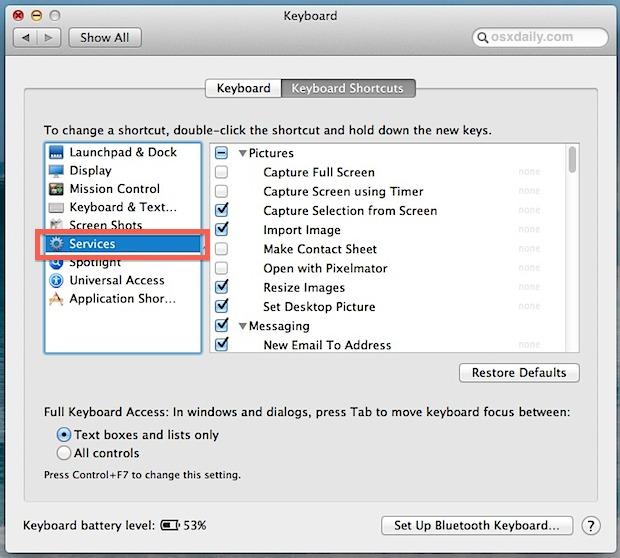 Disable items to remove them from the right-click Services menu in Mac OS X