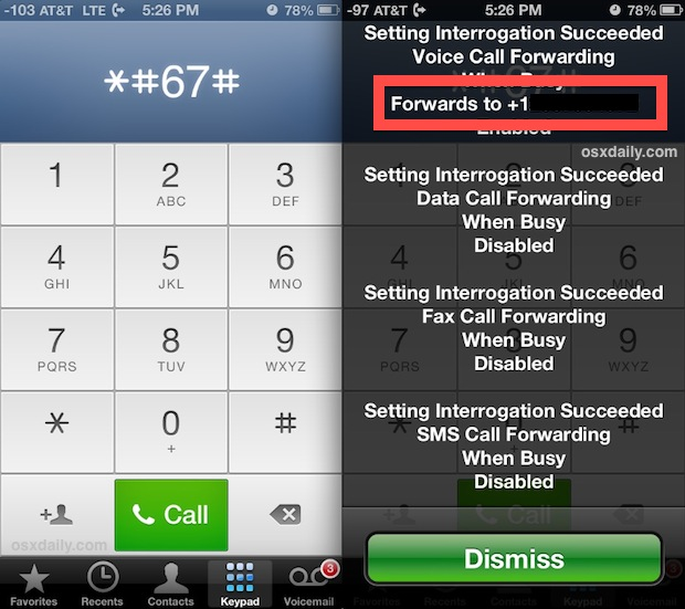 Find the voicemail number by dialing * # 67 #