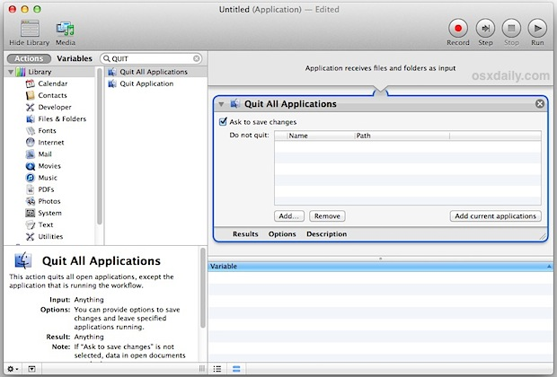 Close all applications in Automator