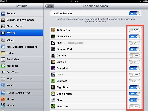 Turn off location services for apps on the iPad
