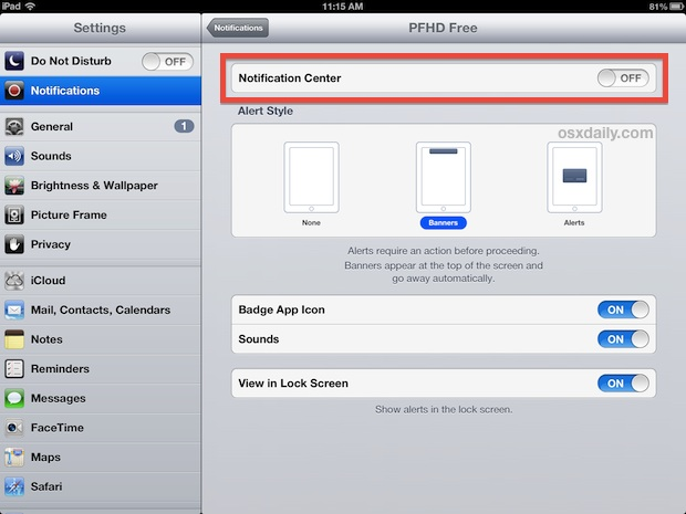 Turn off app notifications and alerts on the iPad