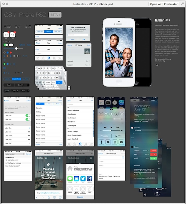 iOS 7 Elements PSD Template