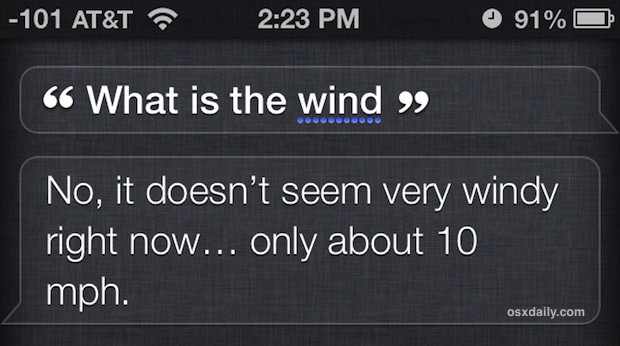 Get wind speed from Siri