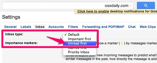 Show unread email in Gmail first