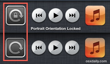 Orientation lock in iOS multitasking bar