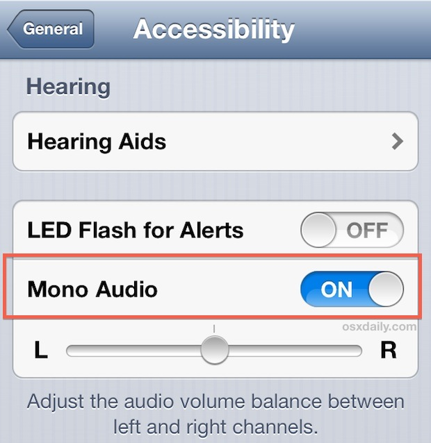 Use mono audio in iOS when speakers or headphones stop working properly