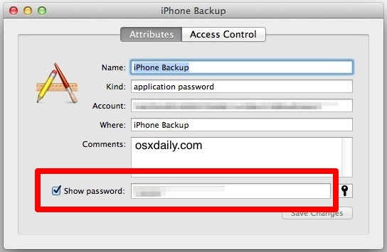 Show the lost password for an encrypted iPhone backupup