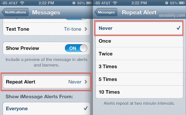 Turn off repeated SMS alerts on iPhone