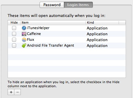 Login items in Mac OS X can slow down the system startup and restart