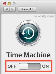 Turn off the Time Machine time machine