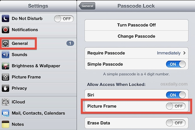 Turn off the photo frame on the iPad