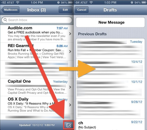 Quickly open the draft folder in the Mail app in iOS