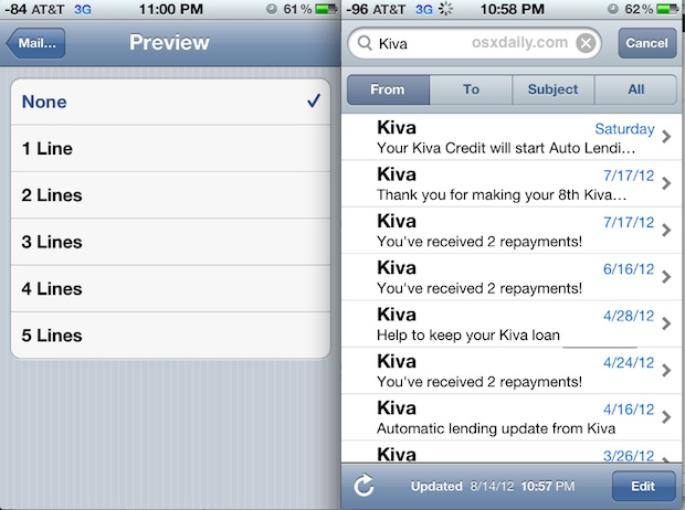 View more emails per screen in the Mail app for iOS