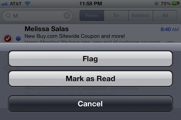 Manage emails in bulk and mark them as read in iOS