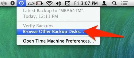 Browse additional backup disks