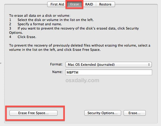 Delete free space on a hard drive
