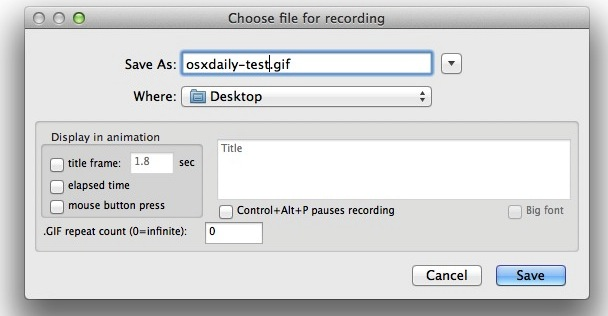 Record the screen as an animated GIF